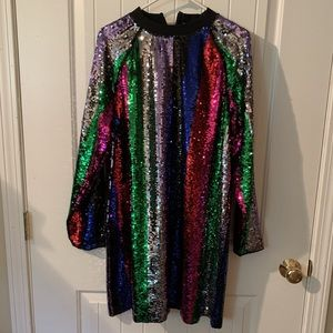 A multicolored sequin dress in a US size 12